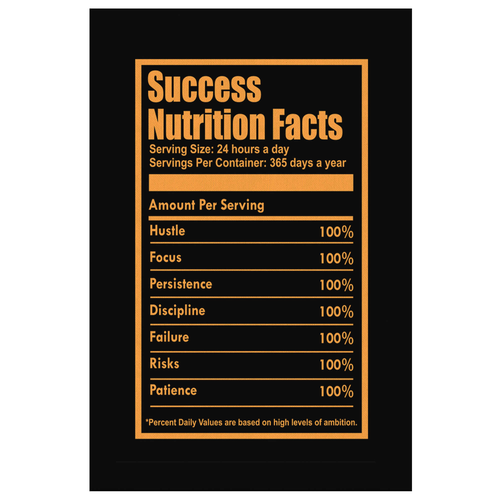Success Nutrition Facts - Motivational Canvas