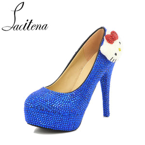 fc1230120 Blue Crystal Kitty KT Cat Lovely Crystal Pearl Sweet New Bridal Wedding  Shoes