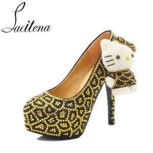 52e8d7413 Leopard Print Sexy 3D Lovely Hello Kitty Cat Sweet Bridal Wedding Shoes