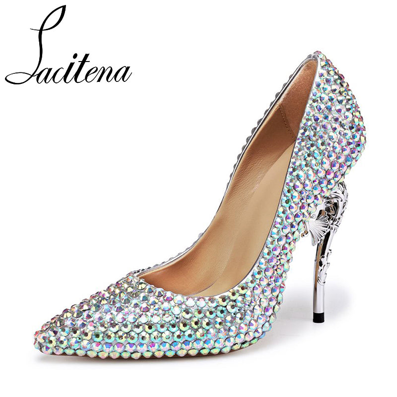 274925ead Lacitena Diamond Crystal Heel Shoes Women Crystal Seahorse Heel Shoes  Women's Crystal Pearl Shoes ...