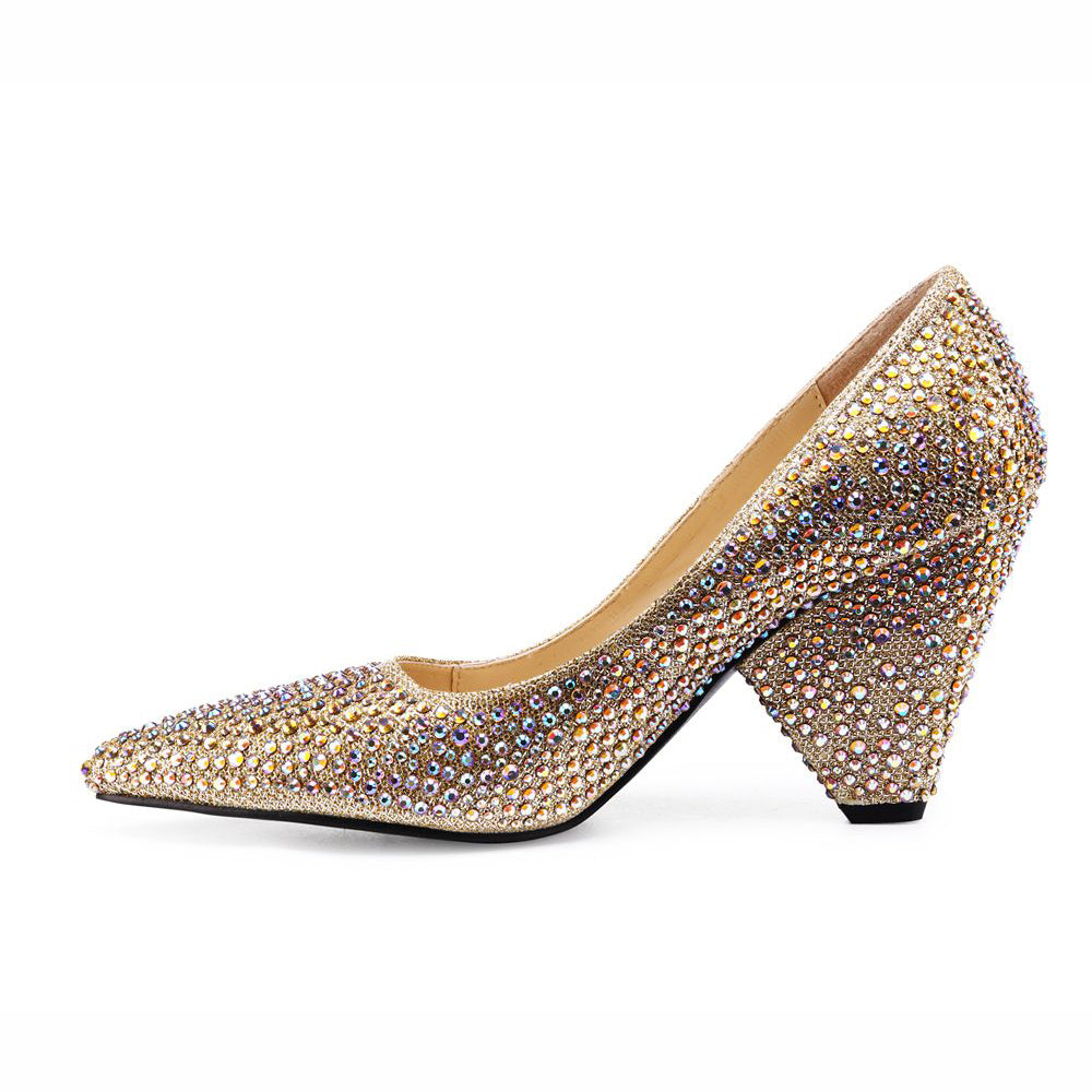34b3caff39f Lacitena Dazzle Golden Silver Spike Heels Glitter Shoes Pointed Toe High  Heel Shoes Comfortable Bridal Shoes