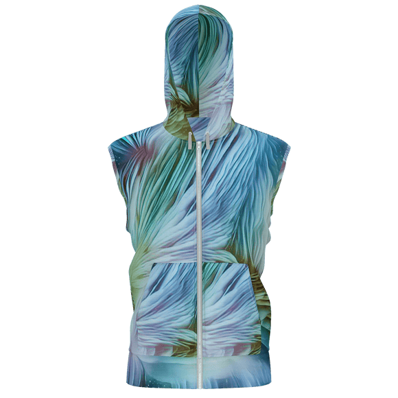 Feathery Waves Hooded Zip-up Vest