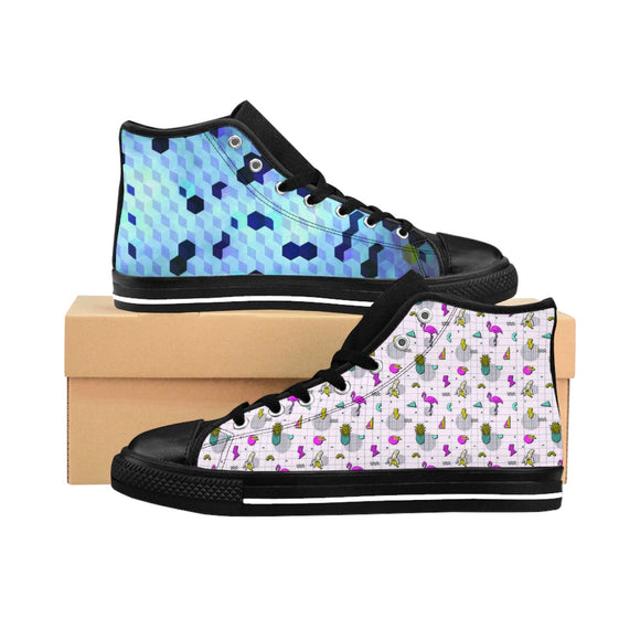 Cubes of Blue Women's High-top Sneakers