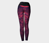Red Smoke Yoga Leggings (Blk Roses Band)