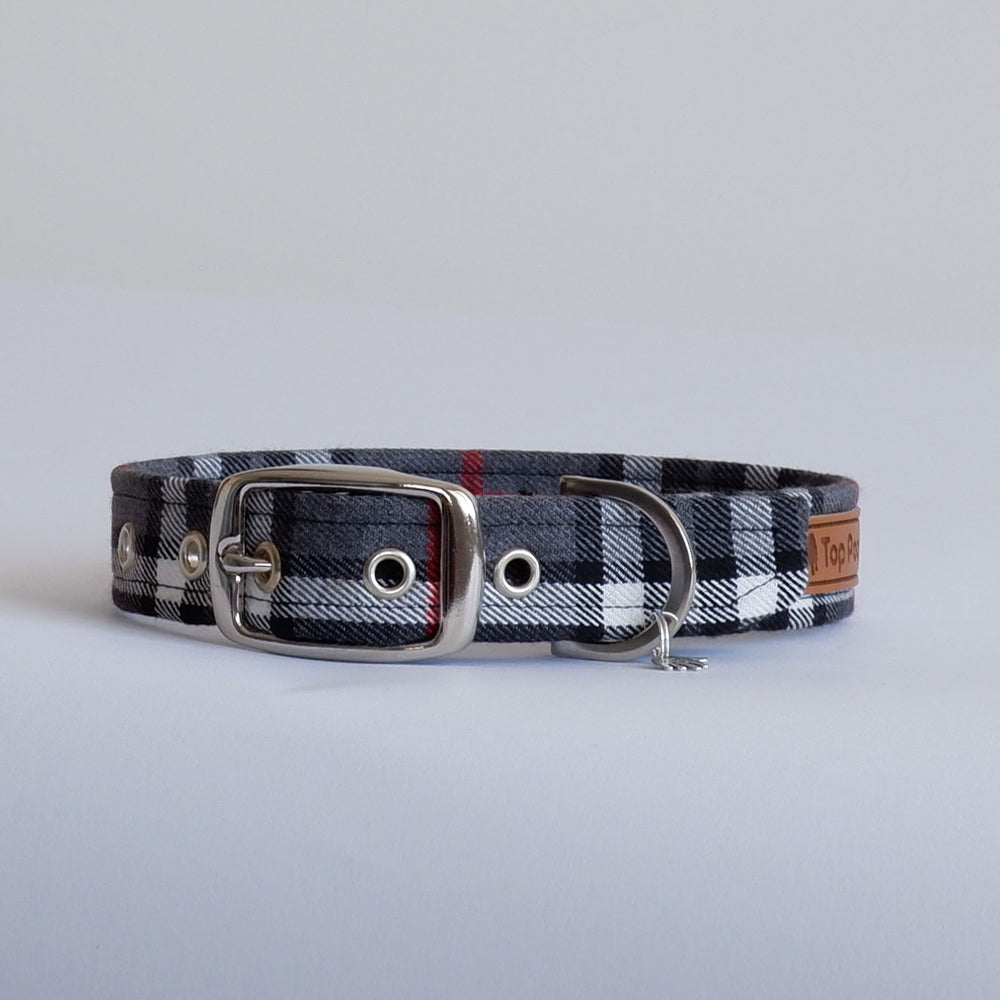 Grey Tartan Buckle Dog Collar