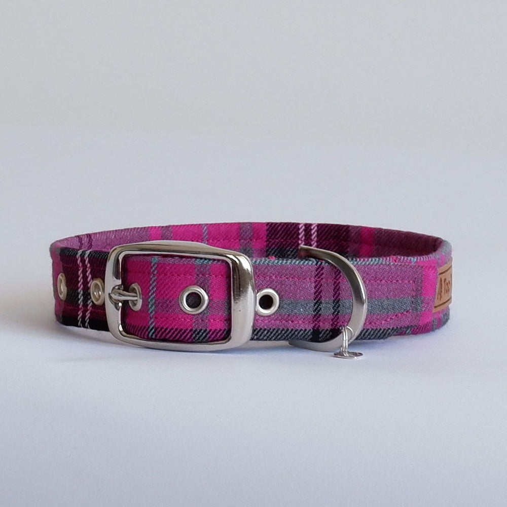 Pink Tartan Buckle Dog Collar