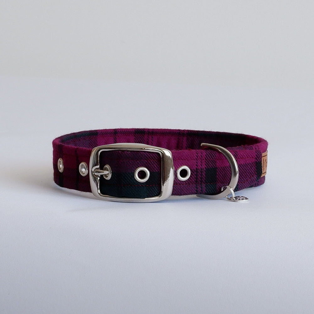 Wine Tartan dog collar | Handmade Dog collar