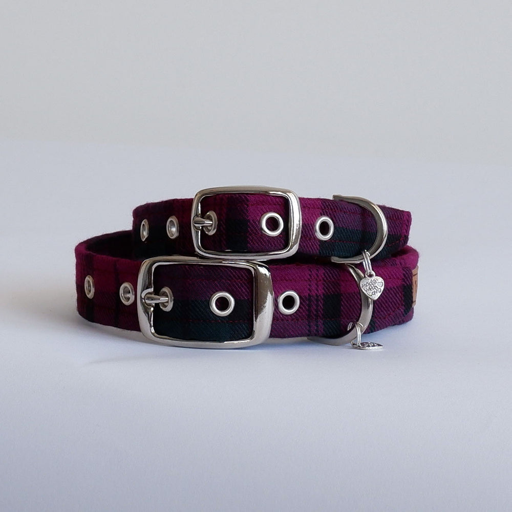 Wine Tartan Buckle Dog Collar