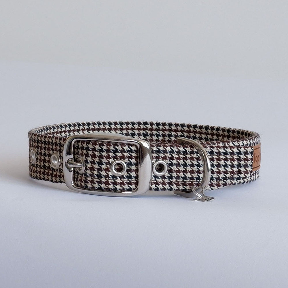 Houndstooth Brown Buckle Dog Collar