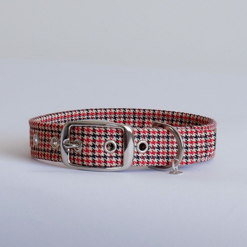 Houndstooth Red Buckle Dog Collar