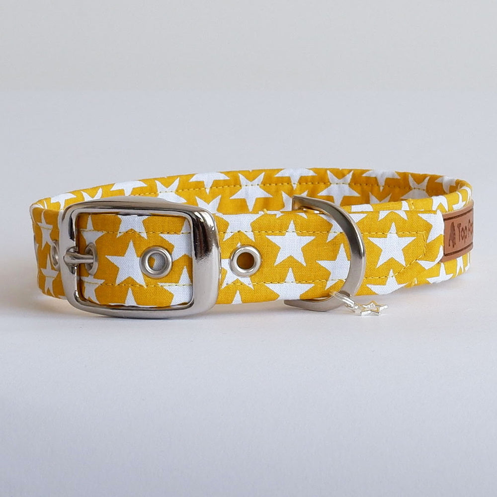 Mustard Yellow Stars Dog Collar | Handmade Dog Collar