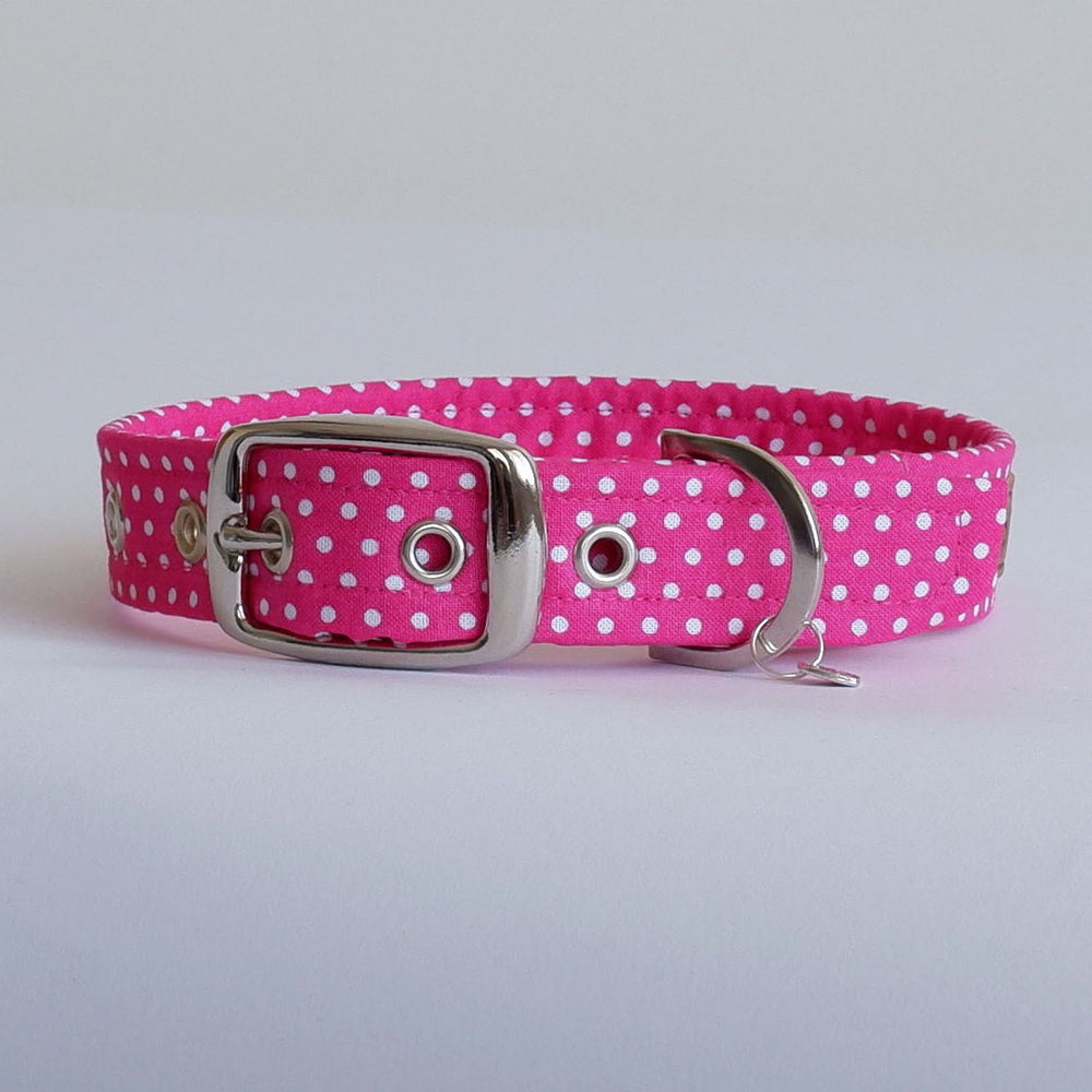 Polka Pink Buckle Dog Collar