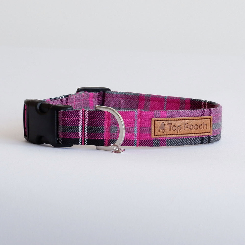 Pink Tartan dog collar | Handmade Dog collar
