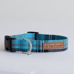 Turquoise Tartan dog collar | Handmade Dog collar