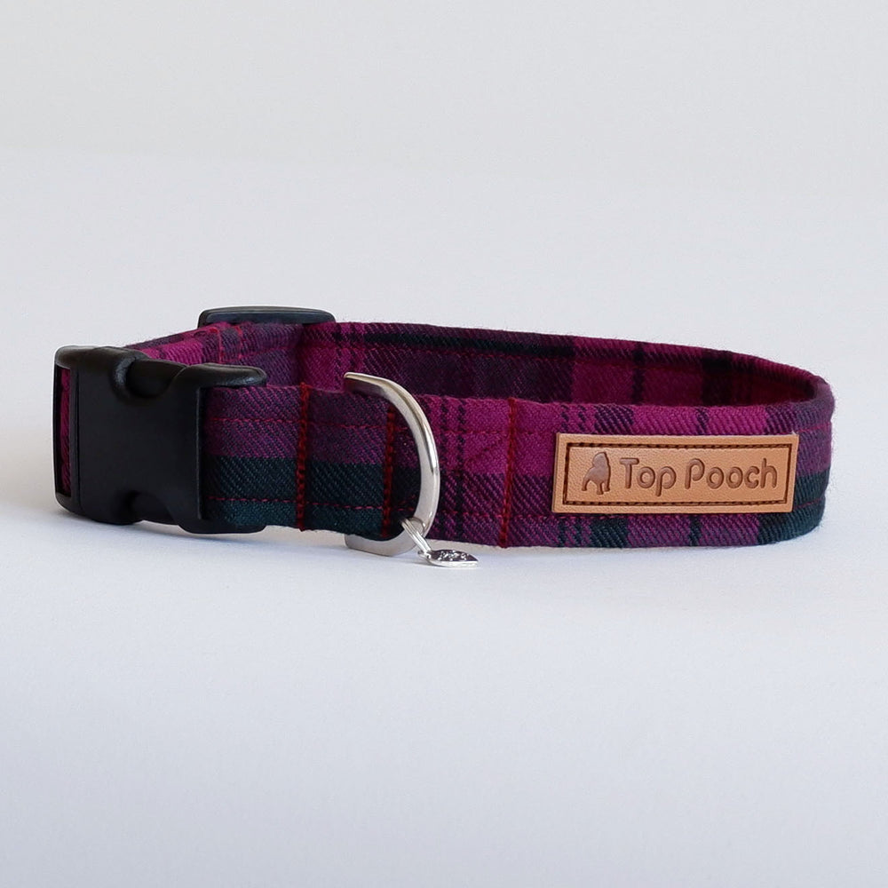 Wine Tartan Dog Collar