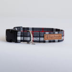 Grey/Red Tartan Dog Collar