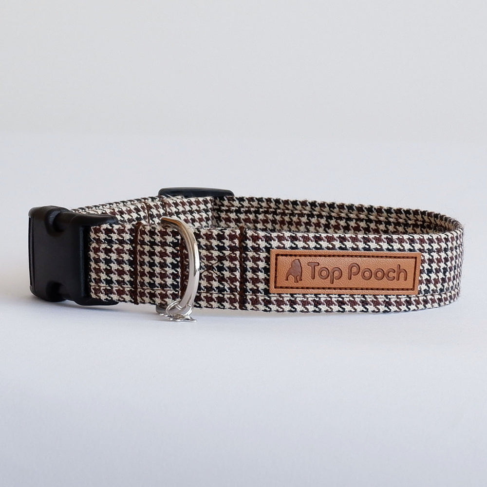 Houndstooth Brown Dog Collar
