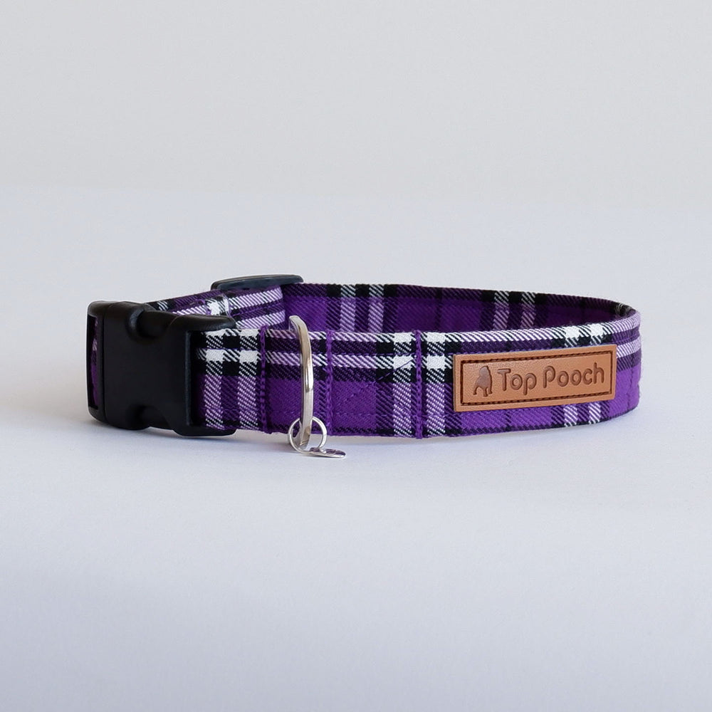 Purple Tartan Dog Collar