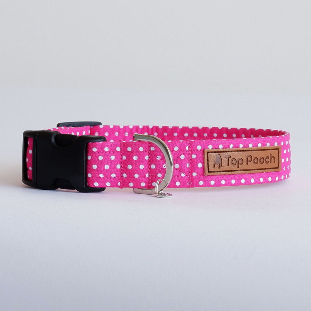 Polka Dot Pink Dog Collar | Handmade Dog Collar