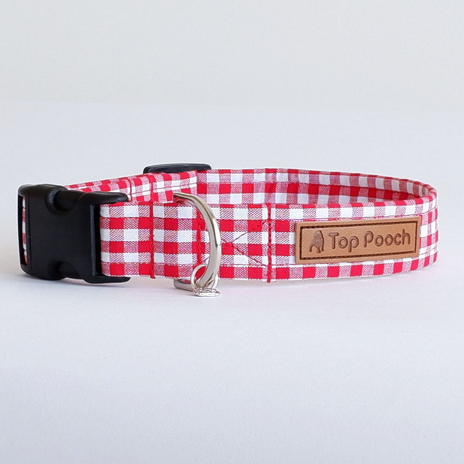 Gingham Red Dog Collar | Handmade Dog Collar