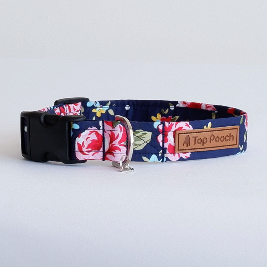 Navy Rose Dog Collar