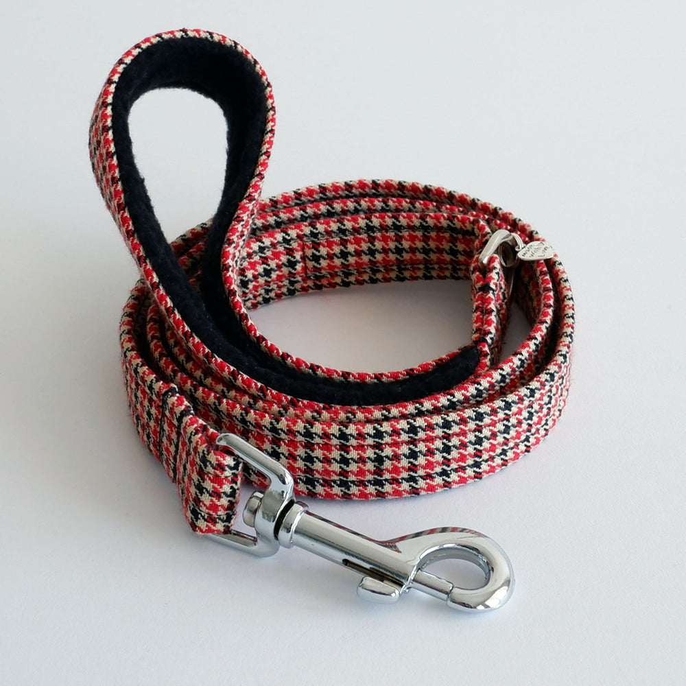 Houndstooth Red dog lead | Handmade Dog Lead