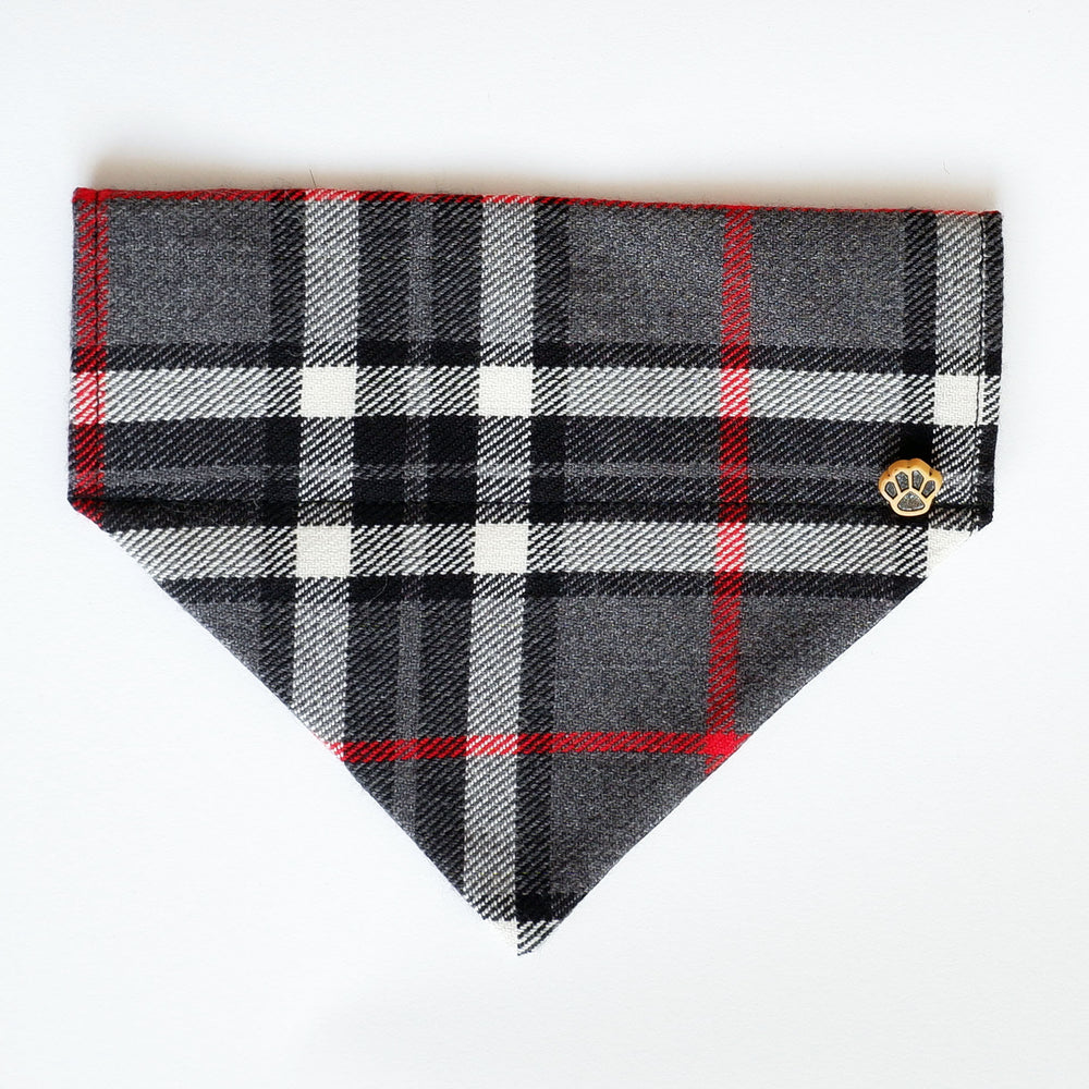 Grey Tartan dog bandana | Handmade Dog bow tie