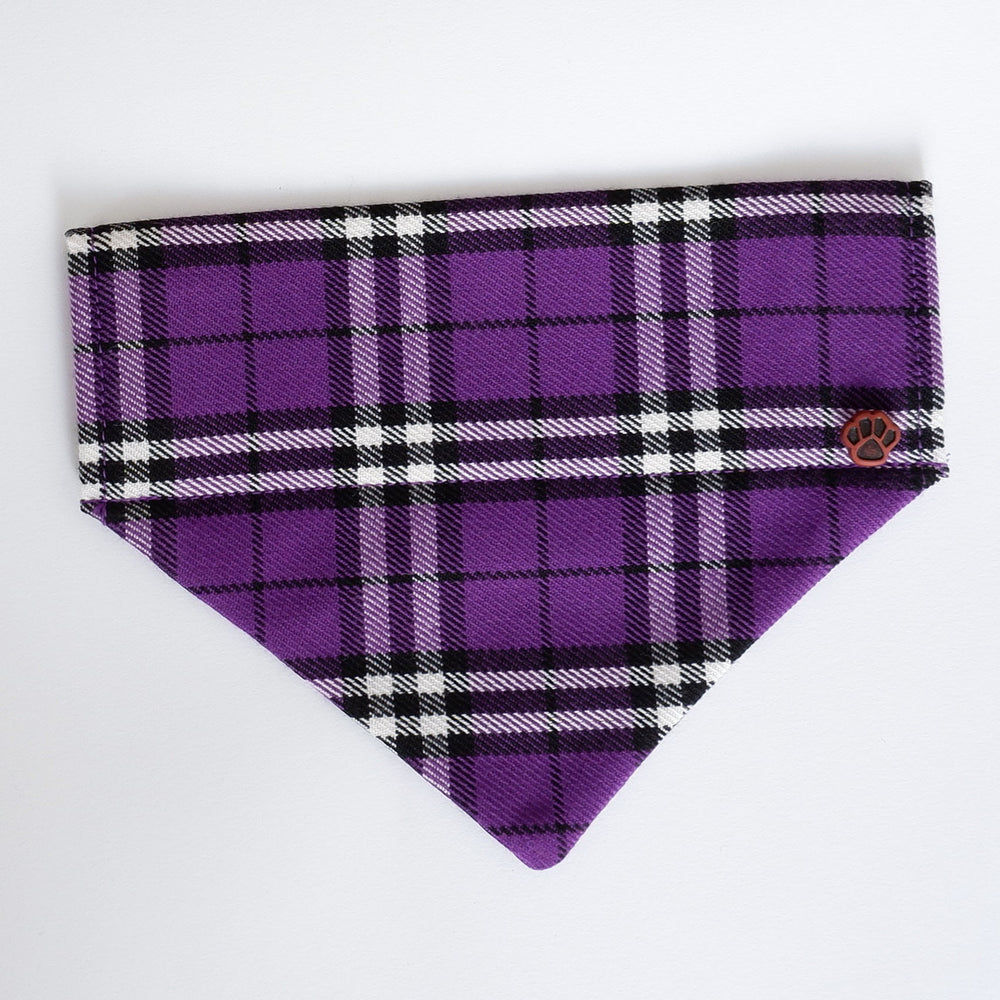 Purple Tartan dog bandana | Handmade Dog bow tie