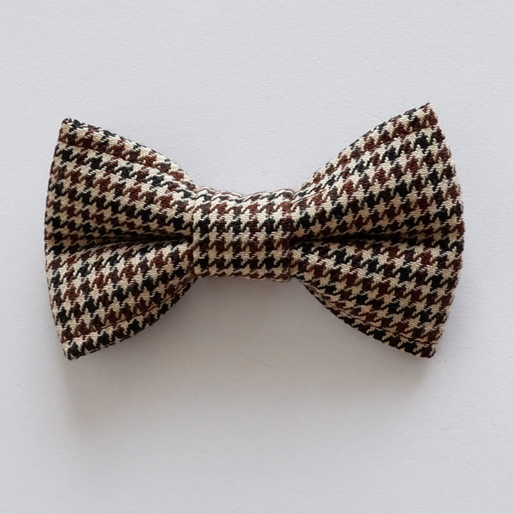 Houndstooth Brown Dog Bow Collar | Handmade Dog Collar