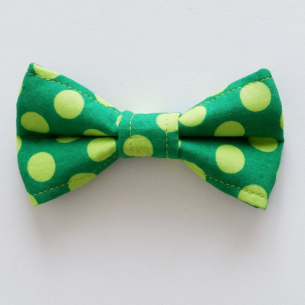 Lime Spots Dog Bow Tie
