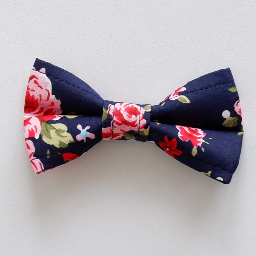 Navy Rose Dog Bow Tie