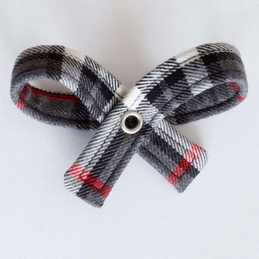 Grey Tartan Dog Bow Collar | Handmade Dog Collar