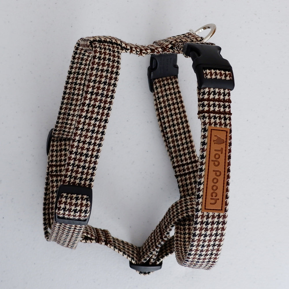 Houndstooth Brown Dog Harness