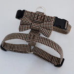Houndstooth Brown dog harness | soft Dog harness