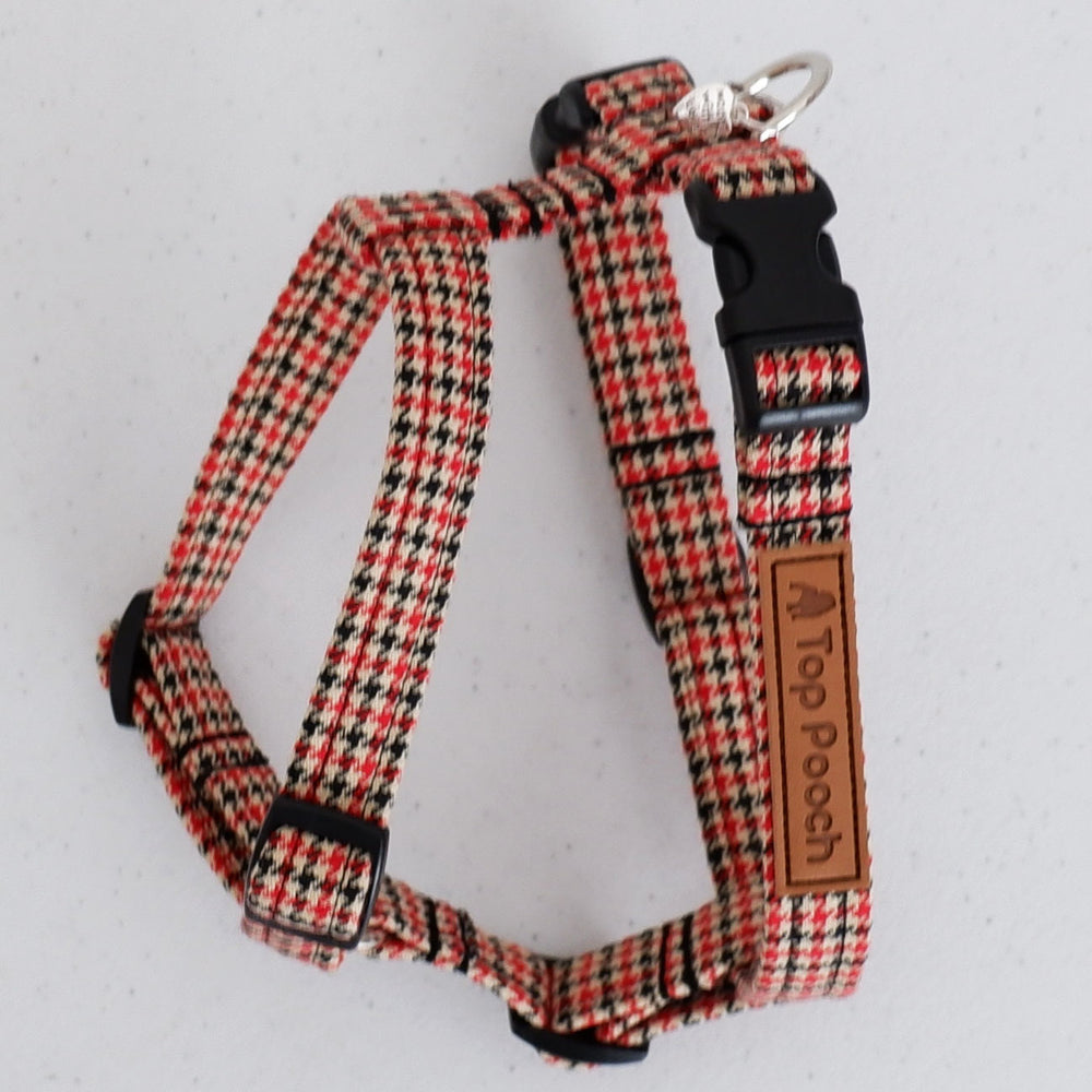 Houndstooth Red Dog Harness