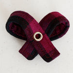 Wine Tartan Dog Bow