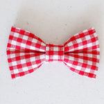 Gingham Red Dog Bow Tie