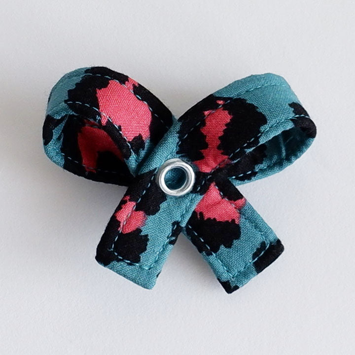Teal Leopard Dog Bow