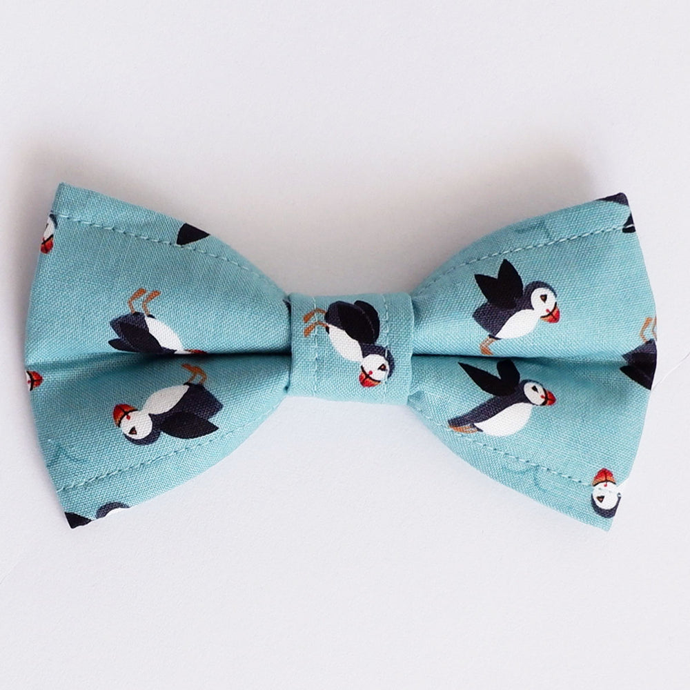 Puffins by the Sea Dog Bow Tie
