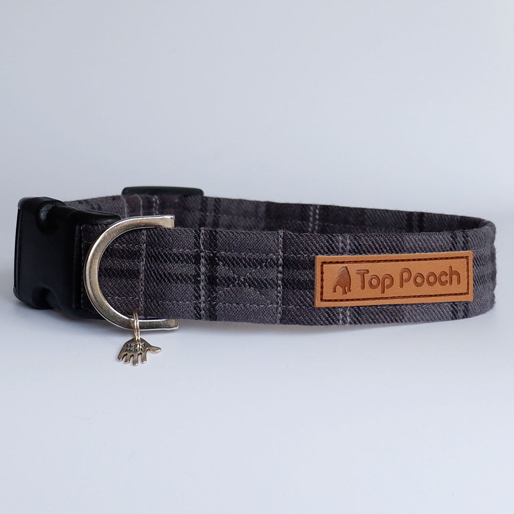 Dark Grey Tartan Dog Collar