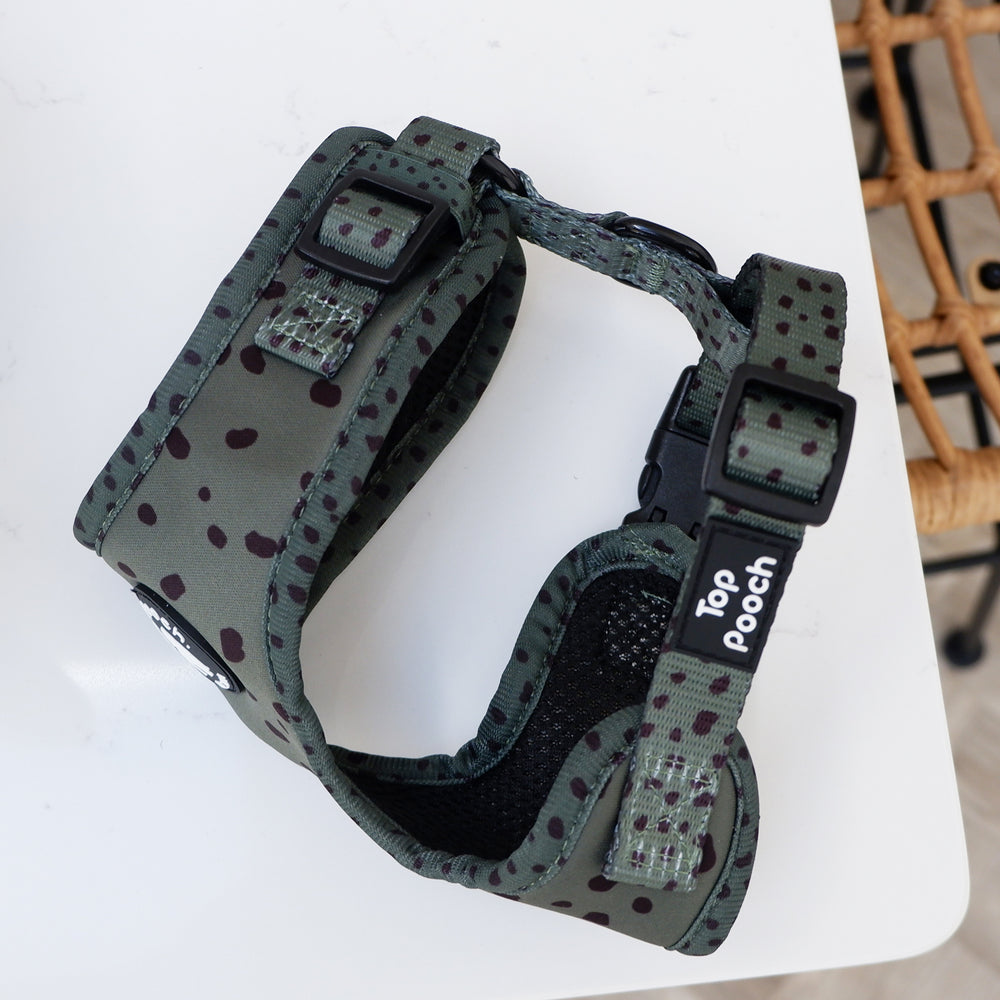 Animal Print Dog Harness - Khaki