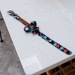 XS Teal Leopard Buckle Dog Collar + BOW