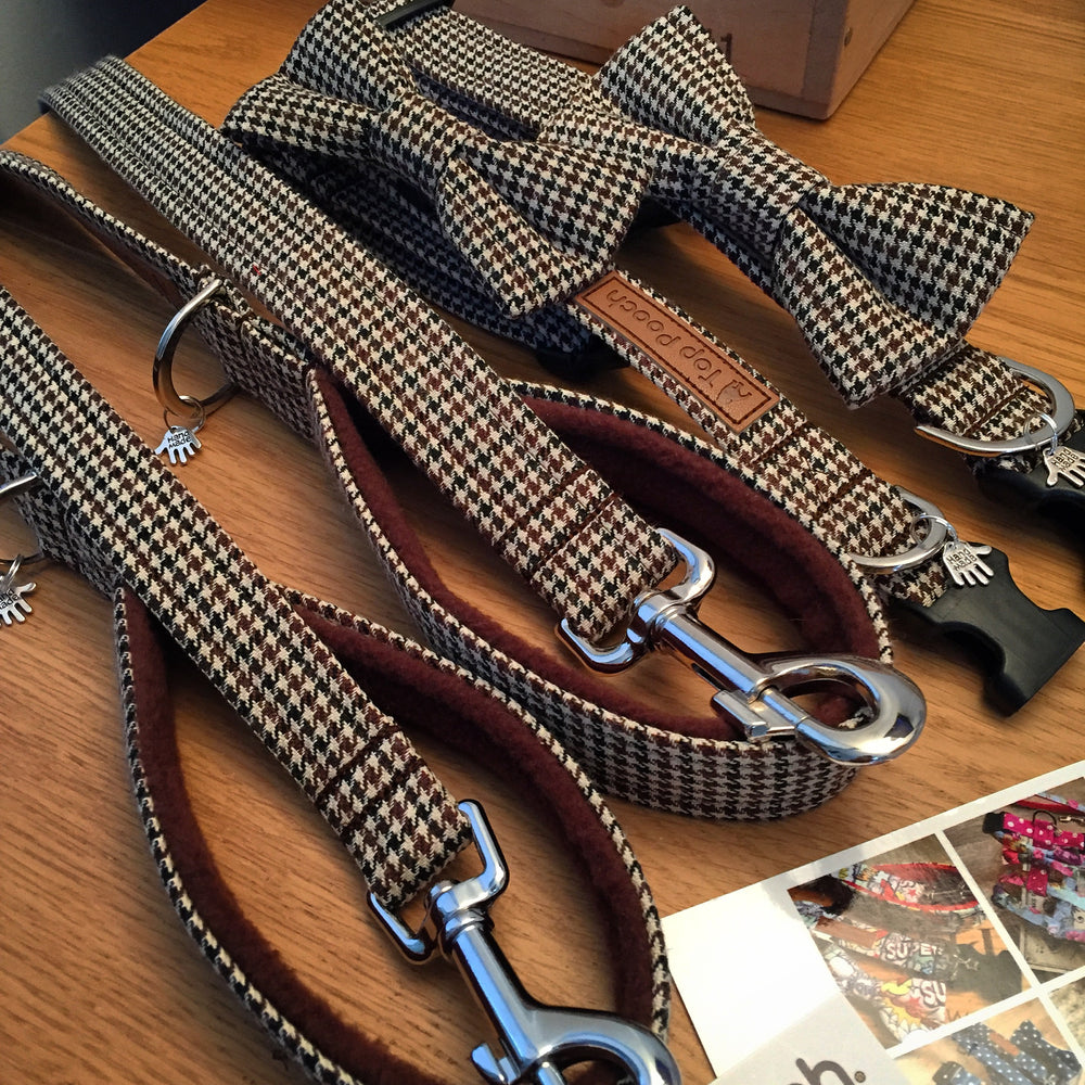 Houndstooth Brown Dog Lead