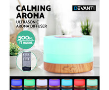 Load image into Gallery viewer, DEVANTI Aroma Diffuser Aromatherapy LED Night Light Air Humidifier Purifier Round Light Wood Grain 500ml Remote Control