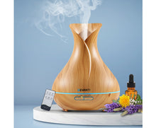 Load image into Gallery viewer, Devanti 400ml 4 in 1 Aroma Diffuser remote control - Light Wood
