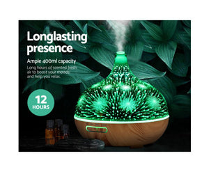 DEVANTI Aroma Aromatherapy Diffuser 3D LED Night Light Firework Air Humidifier Purifier 400ml Remote Control