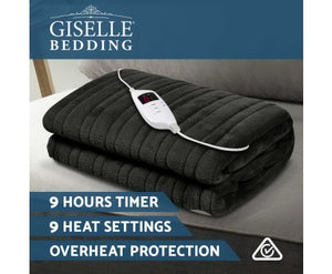 Giselle Bedding Heated Electric Throw Rug Fleece Sunggle Blanket Washable Charcoal