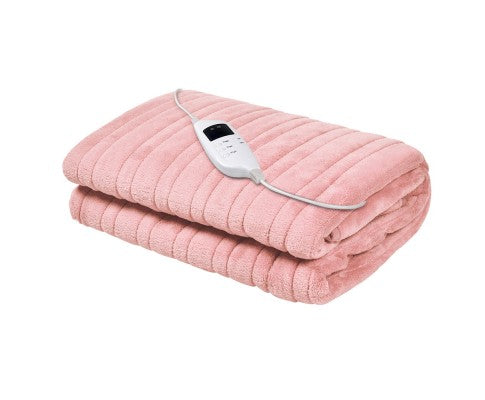 Giselle Bedding Heated Electric Throw Rug Fleece Sunggle Blanket Washable Pink