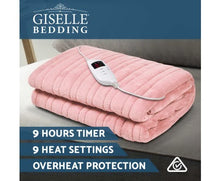 Load image into Gallery viewer, Giselle Bedding Heated Electric Throw Rug Fleece Sunggle Blanket Washable Pink