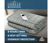 Load image into Gallery viewer, Giselle Bedding Heated Electric Throw Rug Fleece Sunggle Blanket Washable Silver